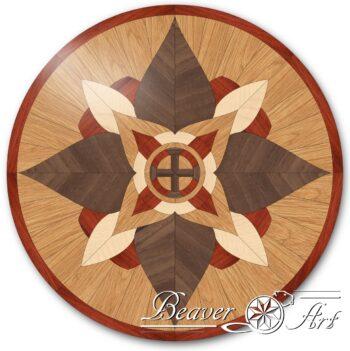 Siertegel Bloem als blikvanger in een parketvloer of als tafeltablet, uitvoering in eik, notelaar, padouk en esdoorn.