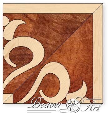 Bijpassende hoek voor boord Victoress in afzelia en esdoorn, variaties van houtsoorten zijn mogelijk.