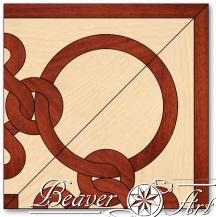 Matching corner for elegant border Deirdre 1 in maple and padauk.