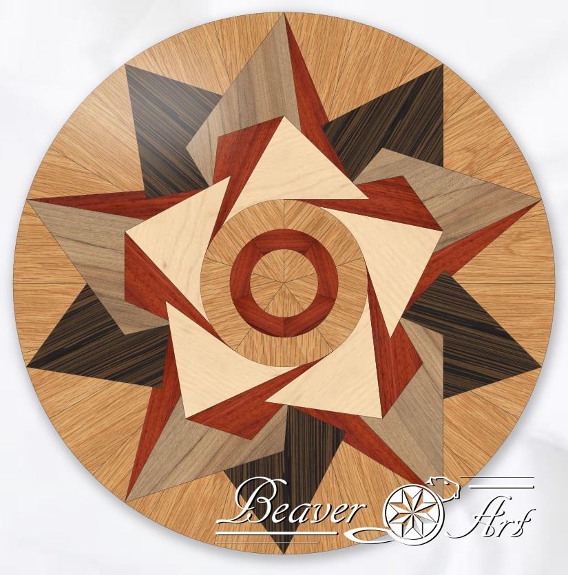 Decoratieve tegel als blikvanger in een parketvloer of tafelblad, gebruikte houtsoorten zijn eik, wenge, esdoorn, notelaar en padouk. Diameter aanpasbaar op aanvraag.