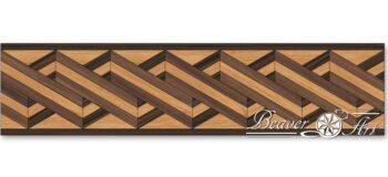 Eindeloze boord met een twist-motief, gebruikte houtsoorten zijn eik, wenge en notelaar.