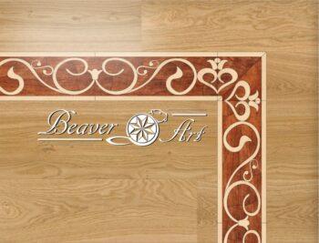 Eindeloze sierboord Victoress in een eiken vloer verwerkt, uitvoering in afzelia en esdoorn, maten en houtsoorten aanpasbaar.