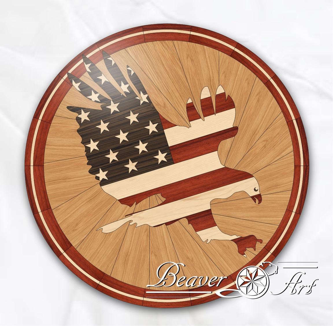 American flag with eagle, used woods: wenge, maple, oak and padauk