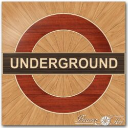 underground logo in oak, wenge, padauk and maple