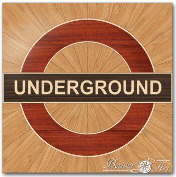 underground logo in oak, wenge, padauk and maple