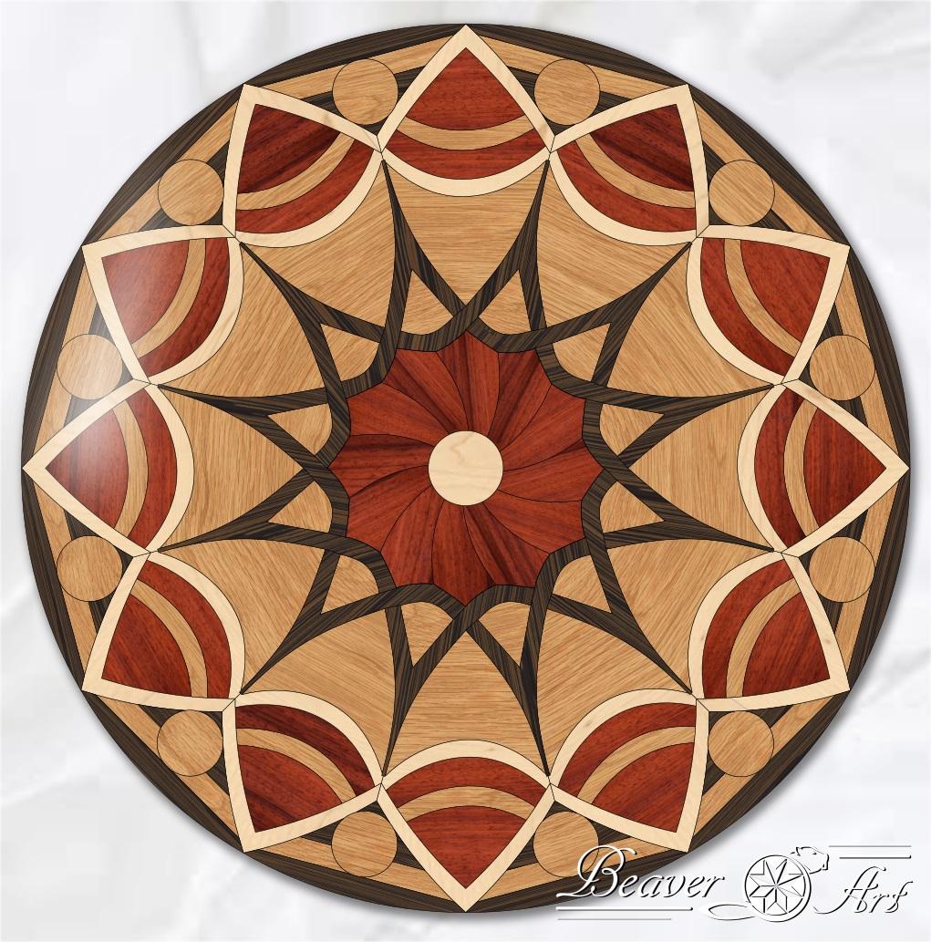 hardwood mandala in floor