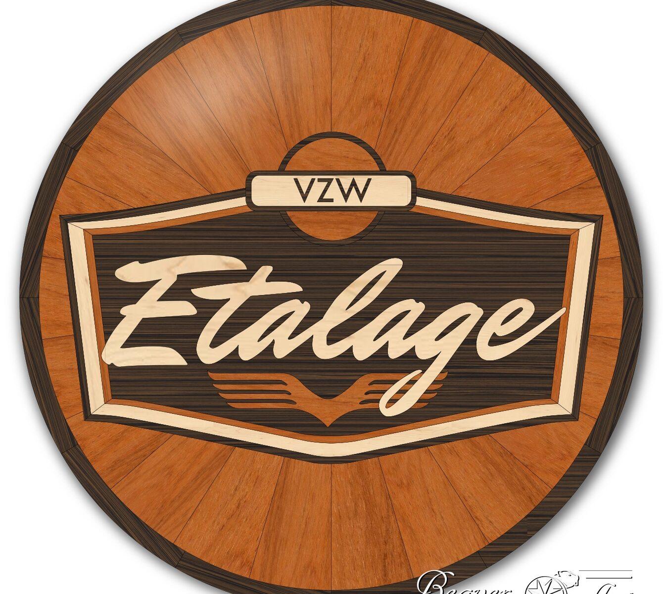 Logo in hardwood oak, wenge and maple