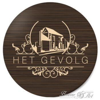 Business logo in wood