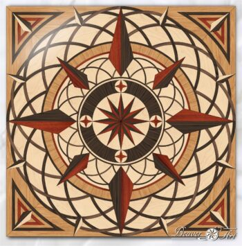 Wooden decoration compass